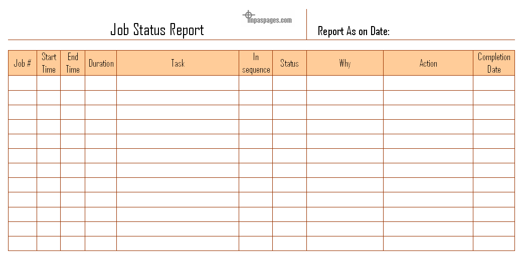 Job Status Report Format  Job Sheet Template Free Download