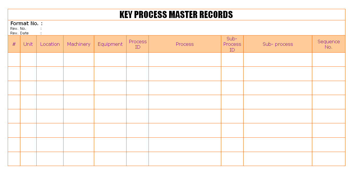 Key process master records format for Key register template free