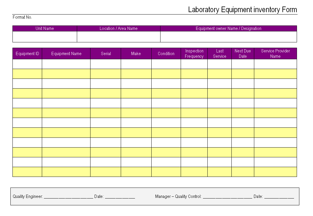 laboratory equipment inventory form format samples word document download