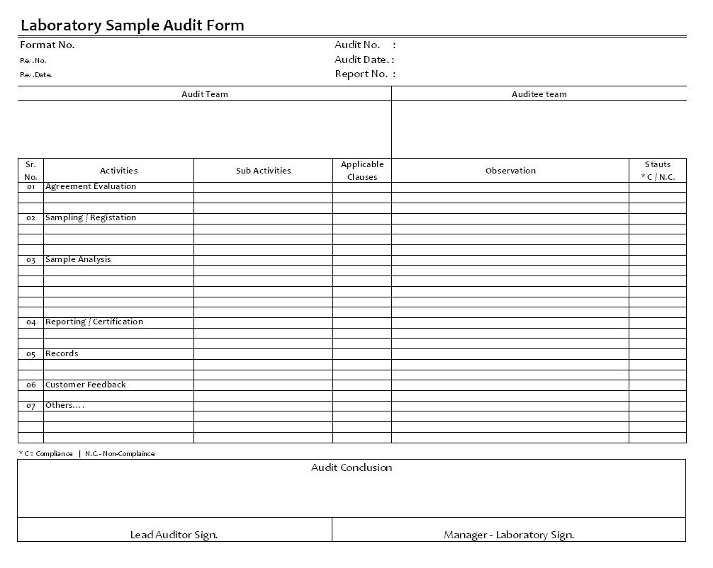 Laboratory Sample Audit Form Format