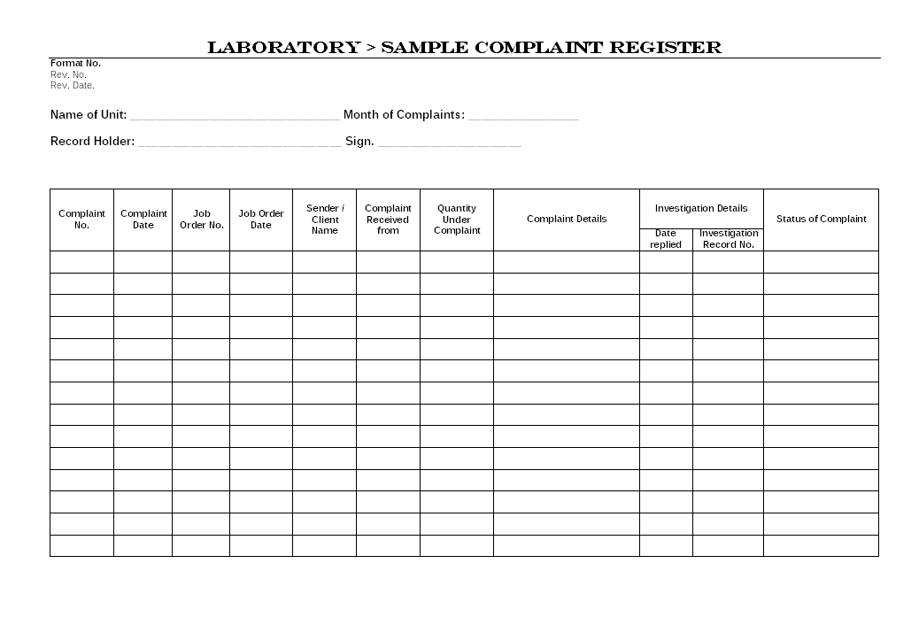 Laboratory Sample Complaint Register Format Image 01 ...  Complaint Format