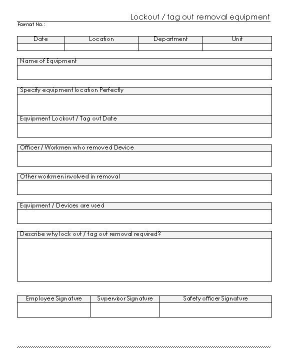 lock out tag out equipment devices removal form format word pdf report. Black Bedroom Furniture Sets. Home Design Ideas