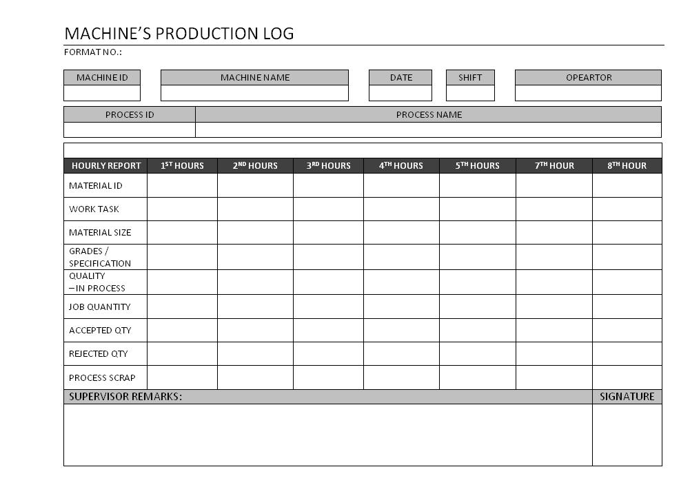 machine production log format samples word document download. Black Bedroom Furniture Sets. Home Design Ideas