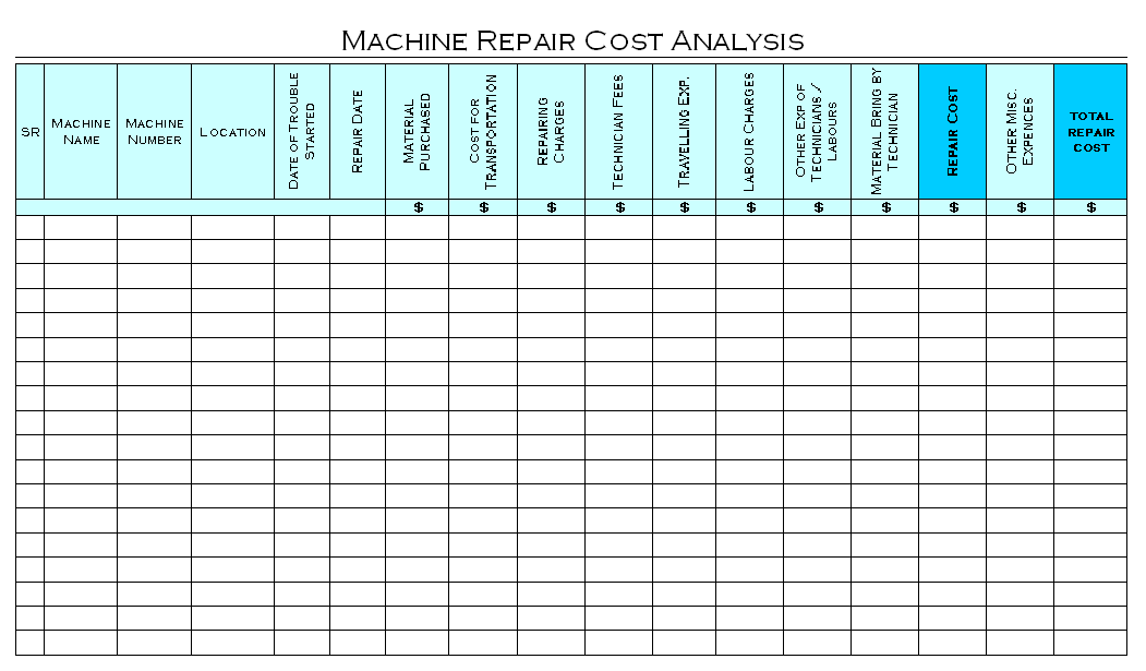 Machine Repair Cost Analysis Format Image 01 ...  Cost Analysis Format