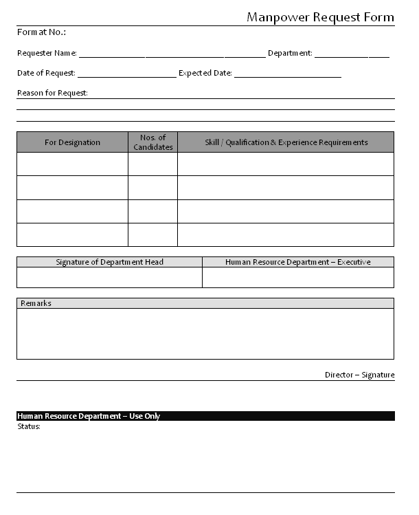 request manpower sample  Manpower Request Form Format | Samples | Word Document Download