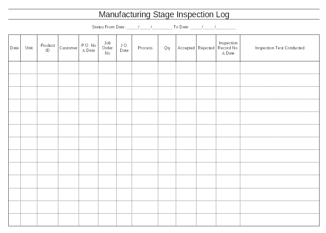 Manufacturing stage inspection log format for Free quality control manual template