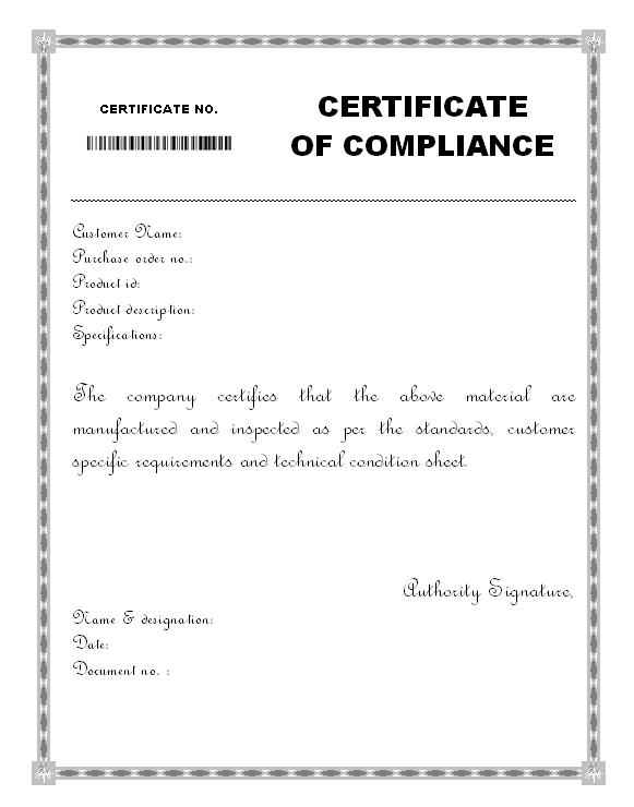 Material Certificate Of Compliance Form format   Samples