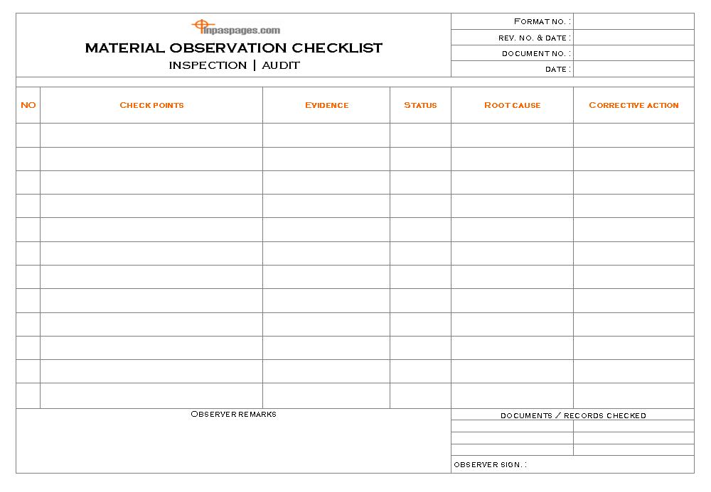 Material Observation Checklist Format Image 01 ...