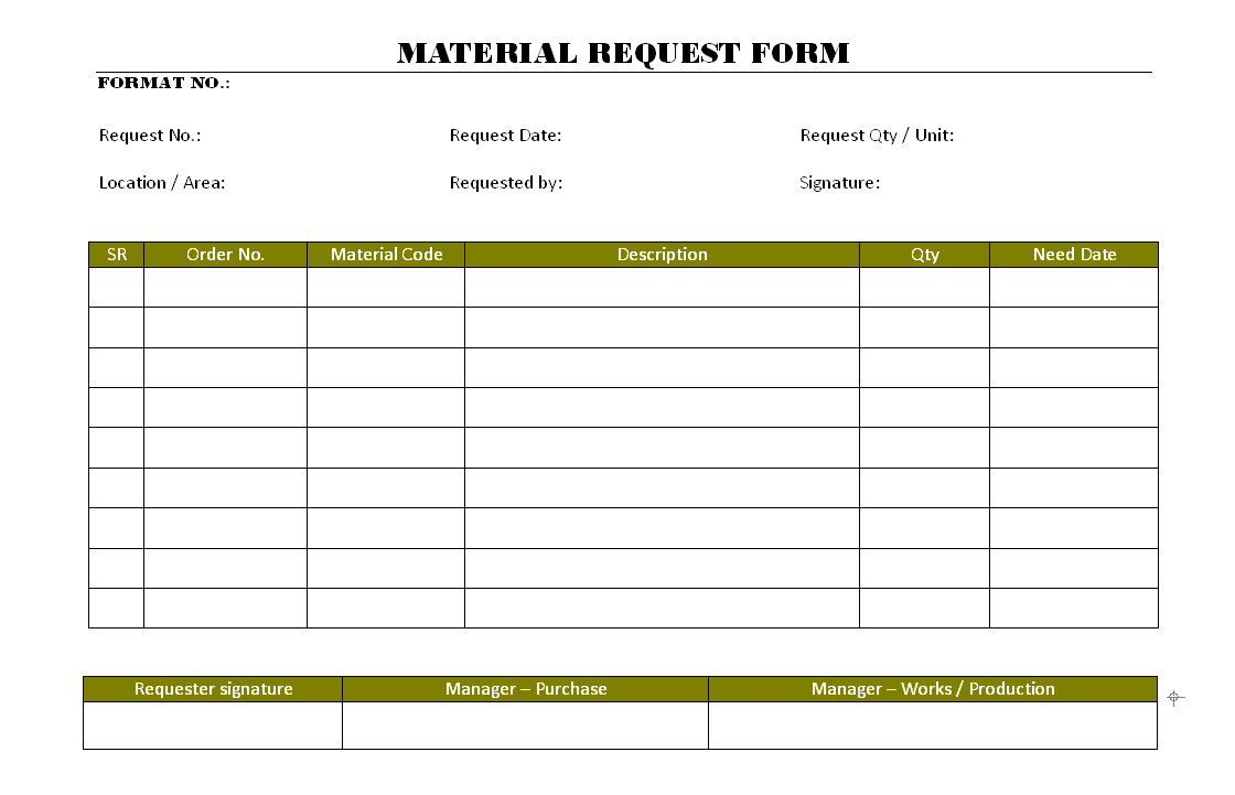 Material Request Form | Report | Sample | Word Document Format | Excel  Format | PDF Format | JPG Format | Free Download