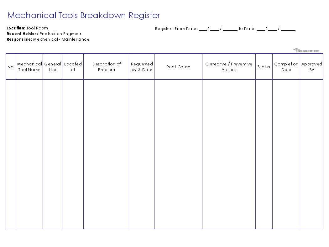 Mechanical Tools Breakdown Register Format Image 01