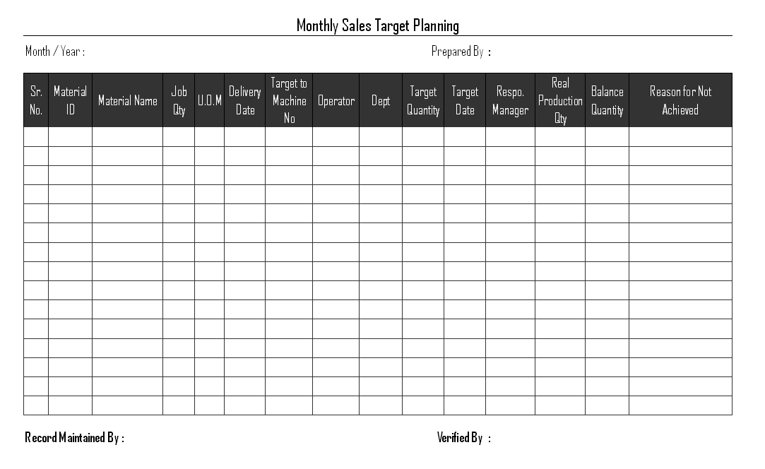 sales target format - Monza berglauf-verband com
