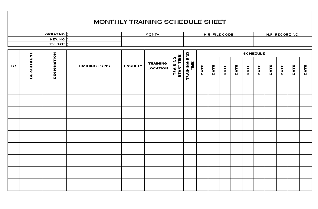 Monthly training schedule sheet format for Training calendars templates