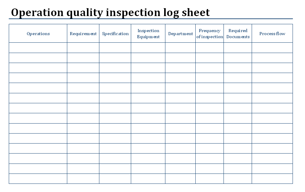 quality control check sheet template - operation quality inspection log sheet format