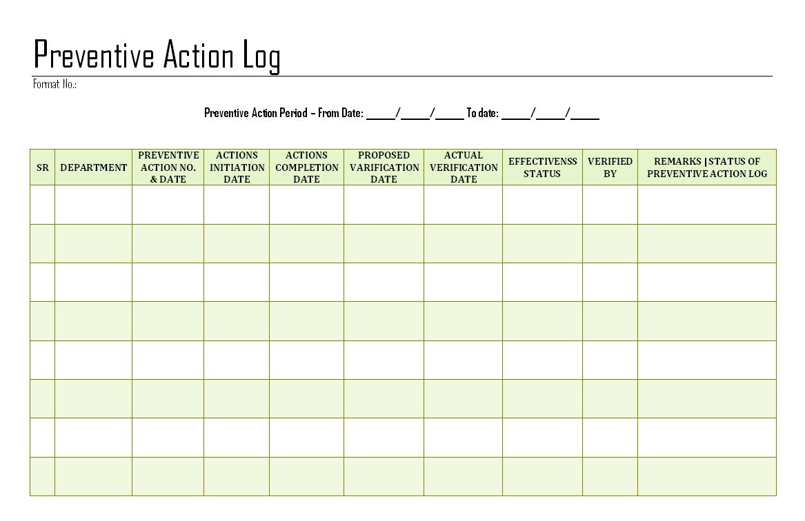 Preventive Action Log Format Samples Word Document Download