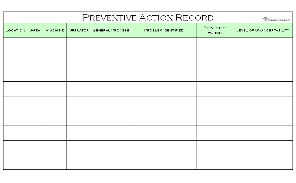 preventive action plan template - preventive actions record format