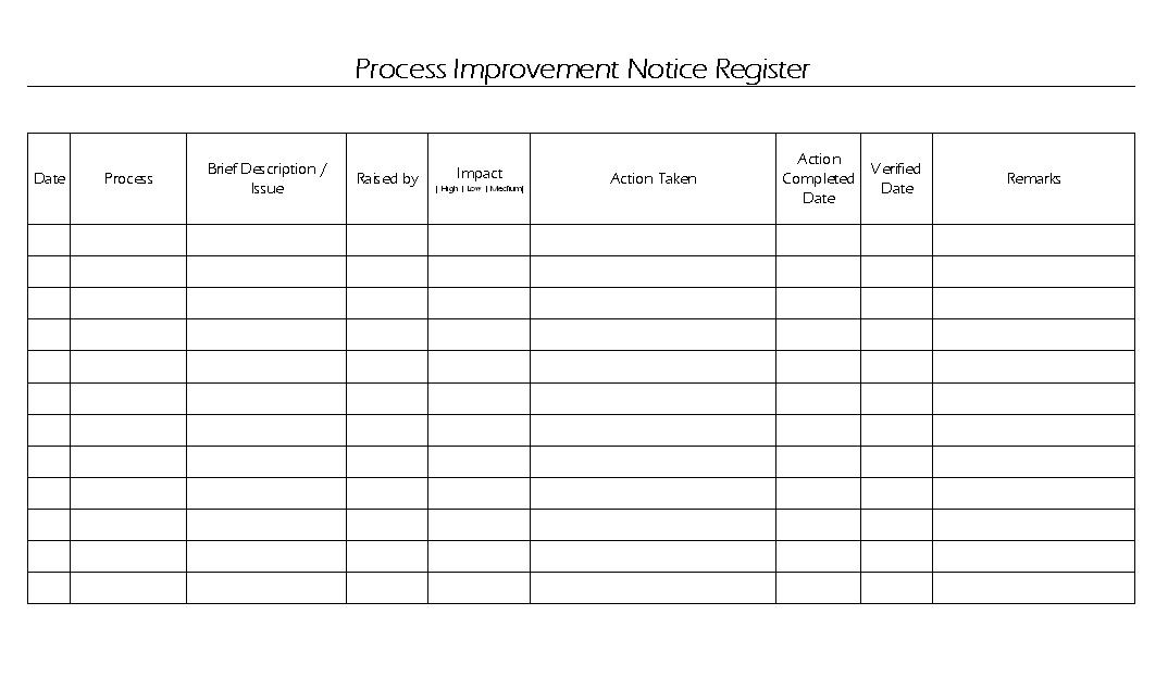 Process improvement notice register format maxwellsz