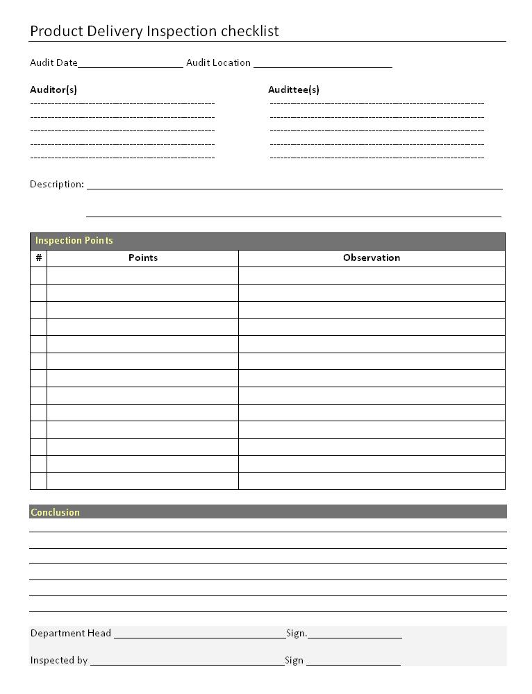 product delivery inspection checklist format. Black Bedroom Furniture Sets. Home Design Ideas