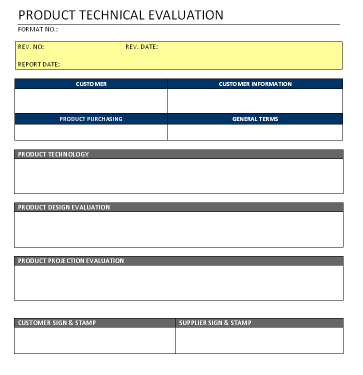Product Technical Evaluation Format Image 01 | Examples ...