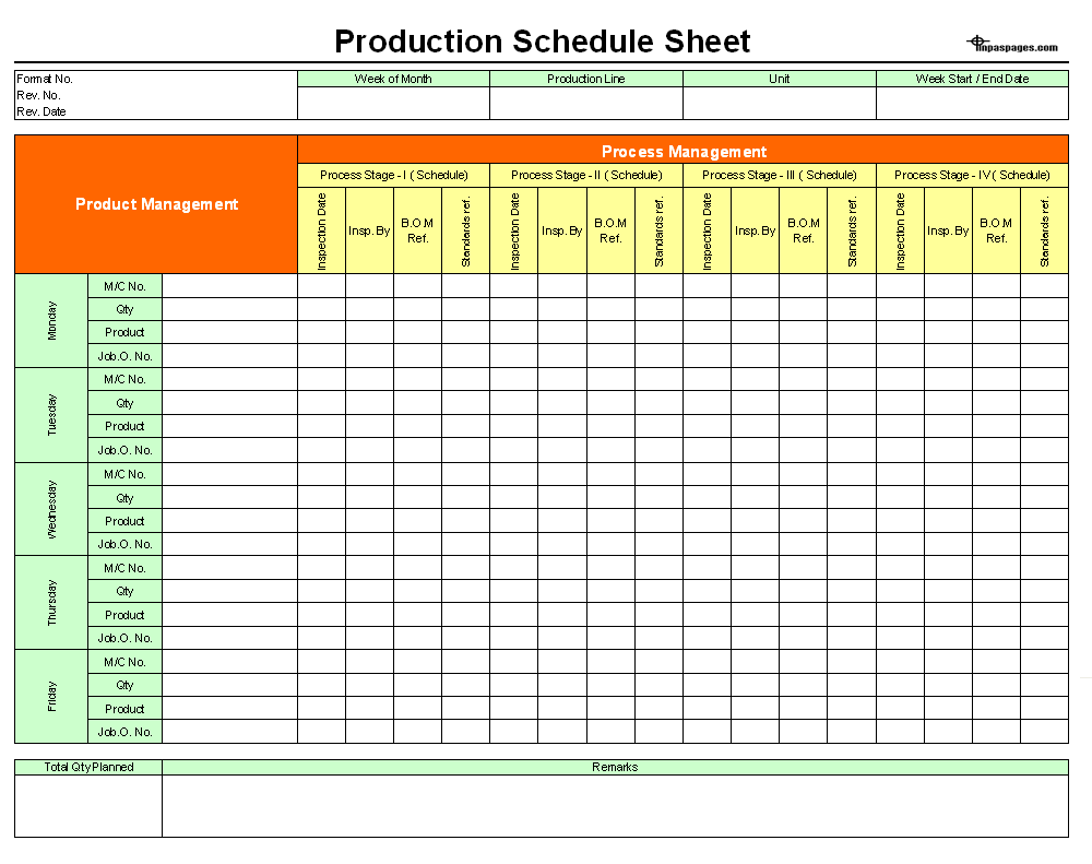 production schedule sheet format image 01 examples