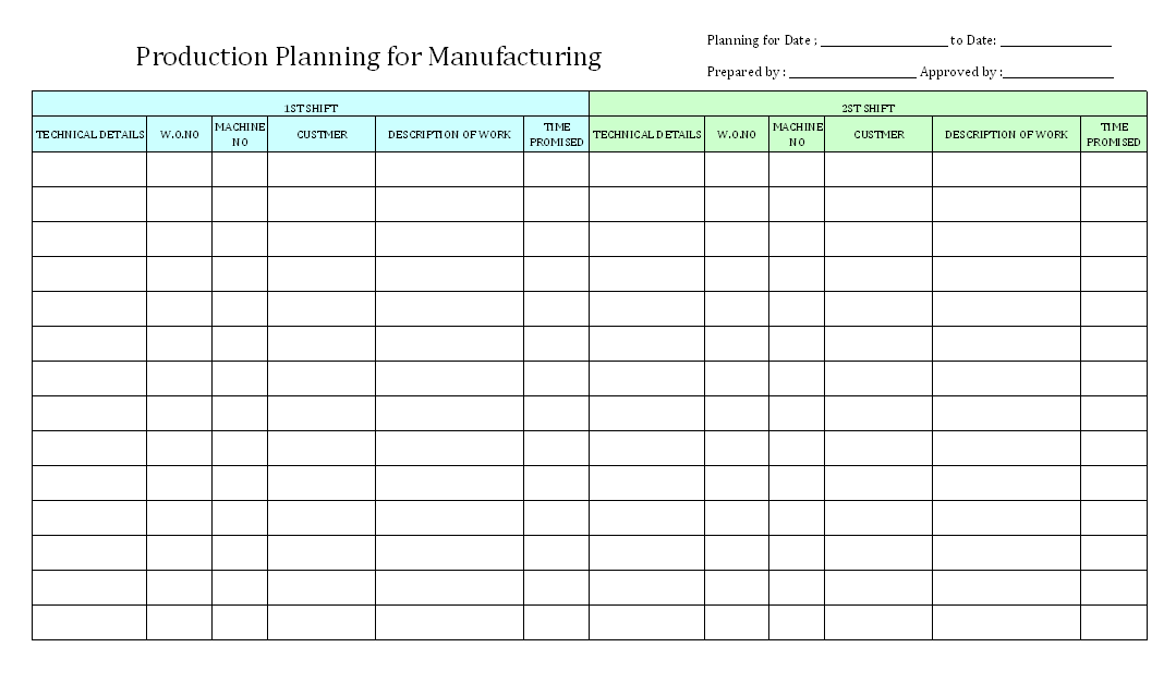 how to make a production plan in excel