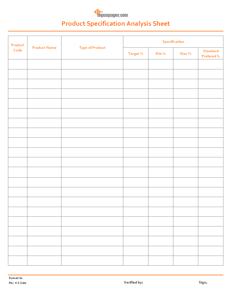 product specification analysis sheet format