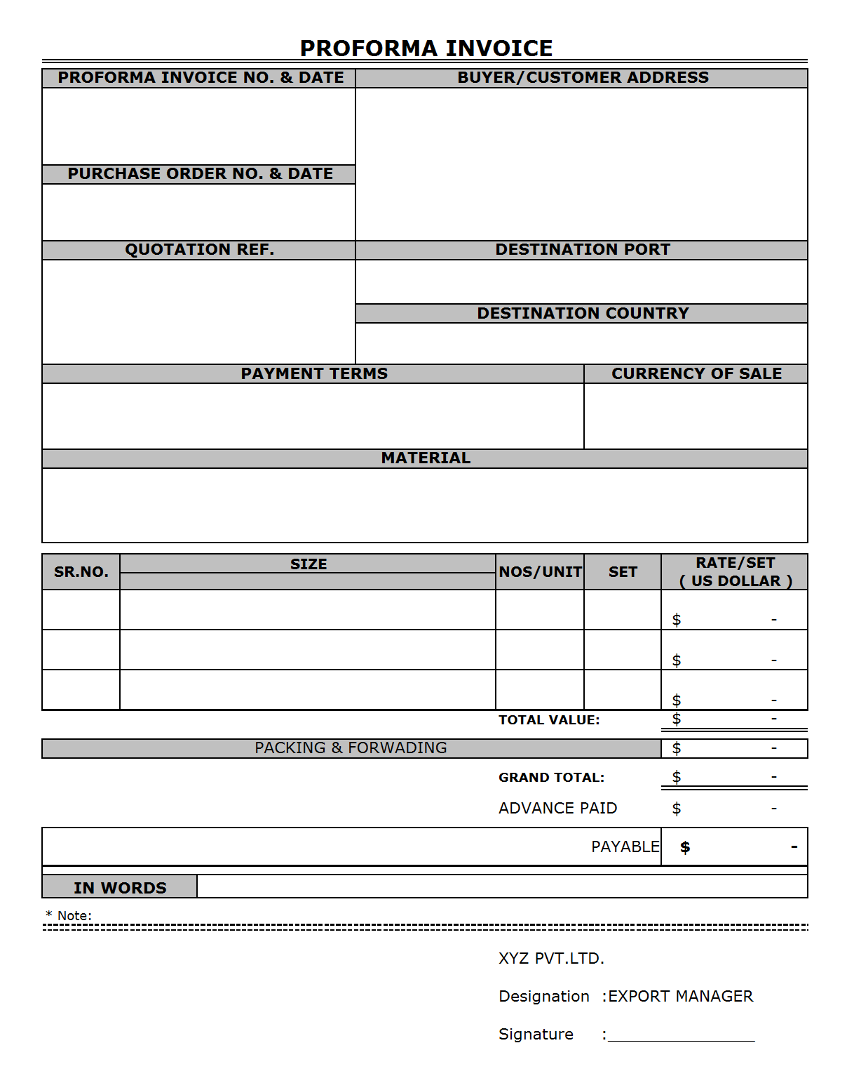 Proforma Invoice Format Format Format PG 1 ...  Proforma Invoice Format In Word