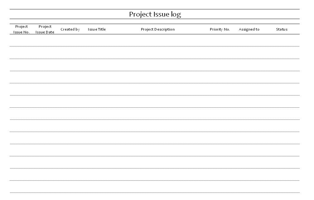 project issue log format