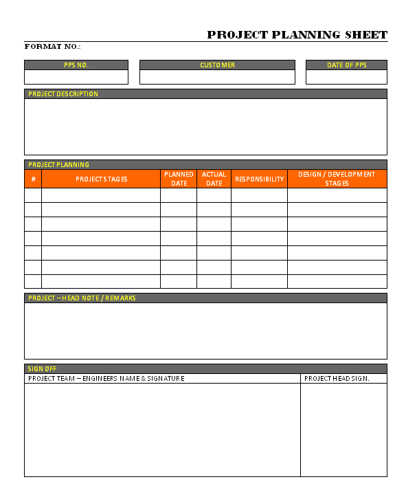 Project Planning Sheet format Samples Word Document Download Project ...