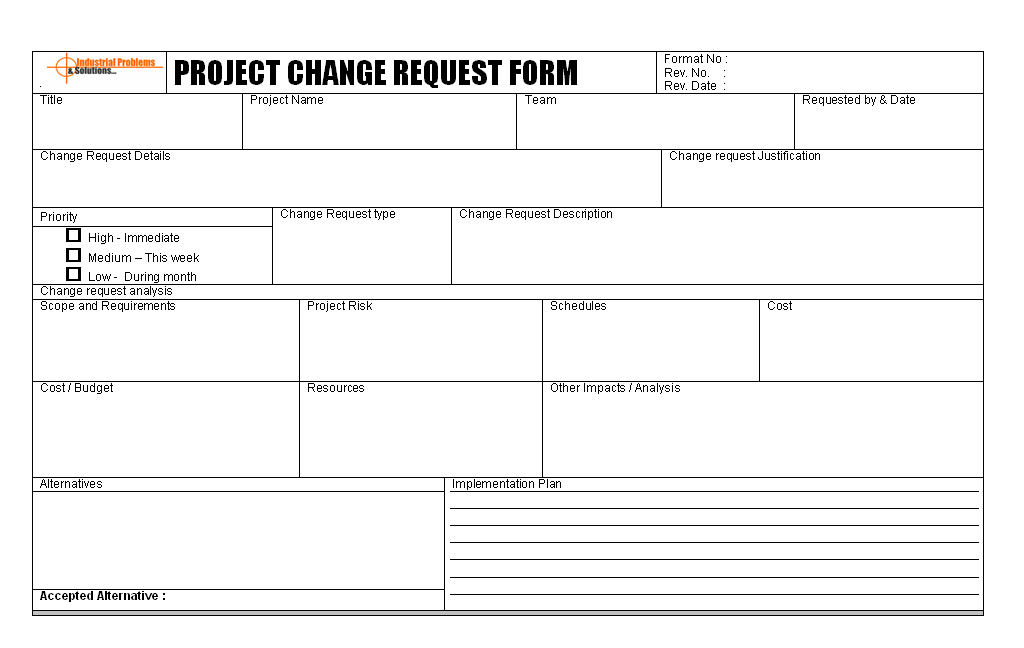 Project Change Request Form Format