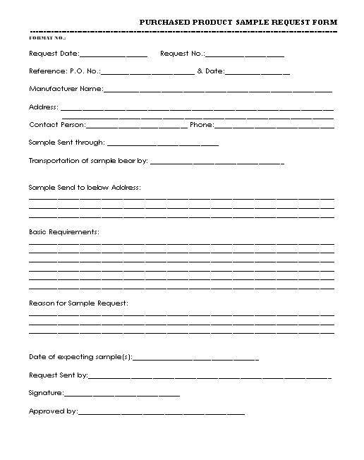 request sample product  Purchased Product Sample request Form format | Report | Samples ...