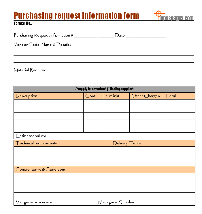 Purchasing request information form Format