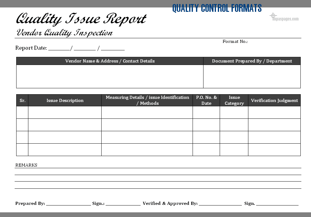 quality issue report format vendor s product quality