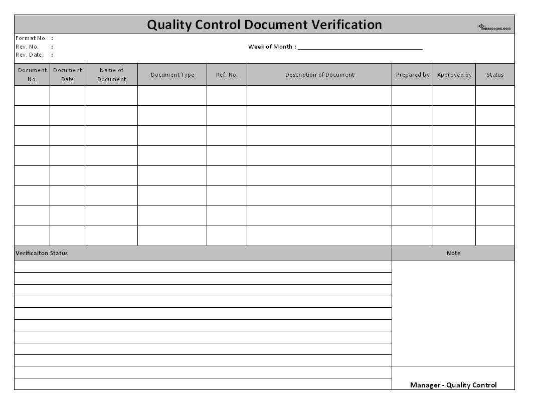 quality control check sheet template - quality control document verification format