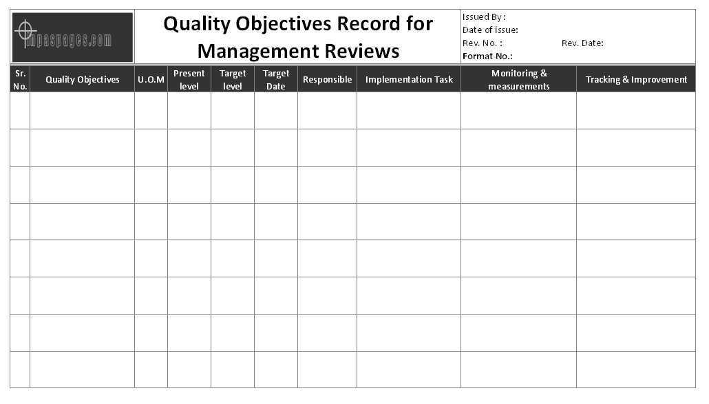 manage by objective template - quality objectives record for management reviews format