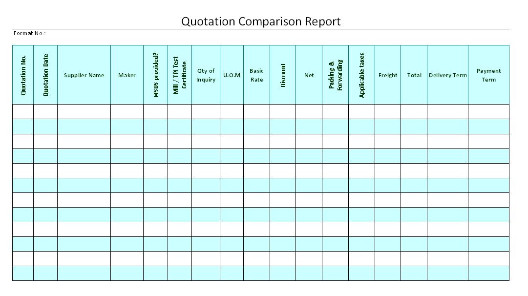 quotation comparison report format