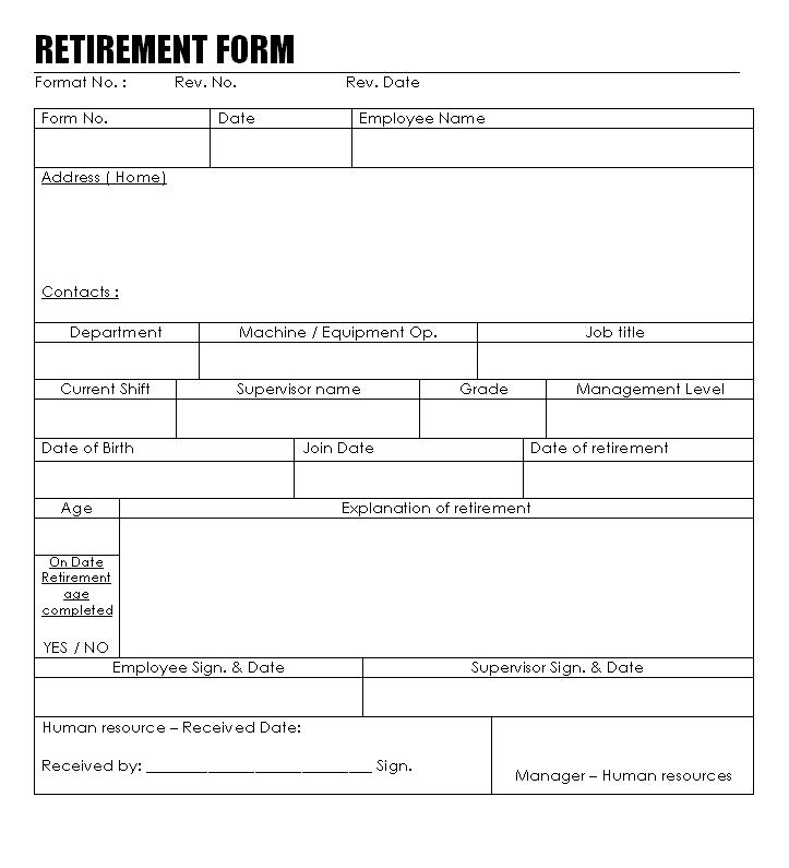 Retirement Form Format
