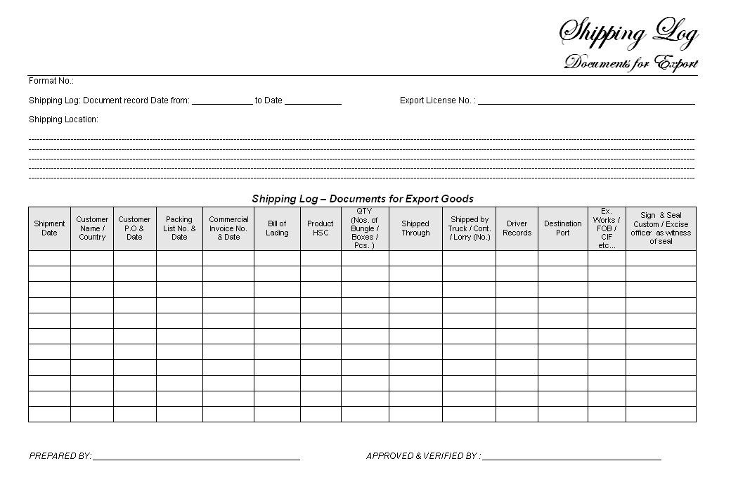 Shipping log document format samples word document download for Excel shipping tracking template