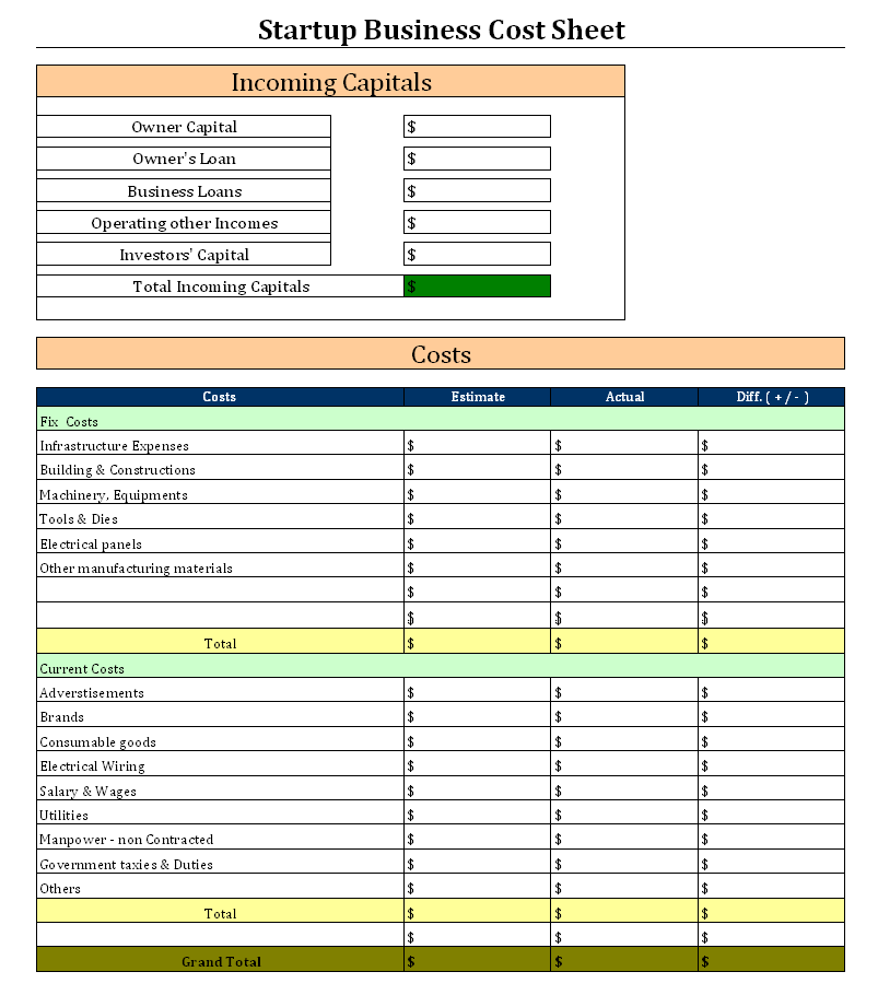 Startup Business Cost Sheet Business Startup Costing Format - Cost sheet format in excel