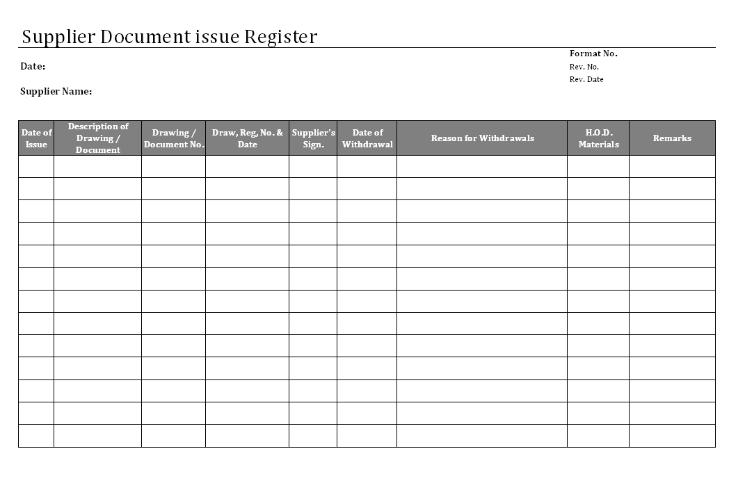Supplier document issue register format for Document register template free
