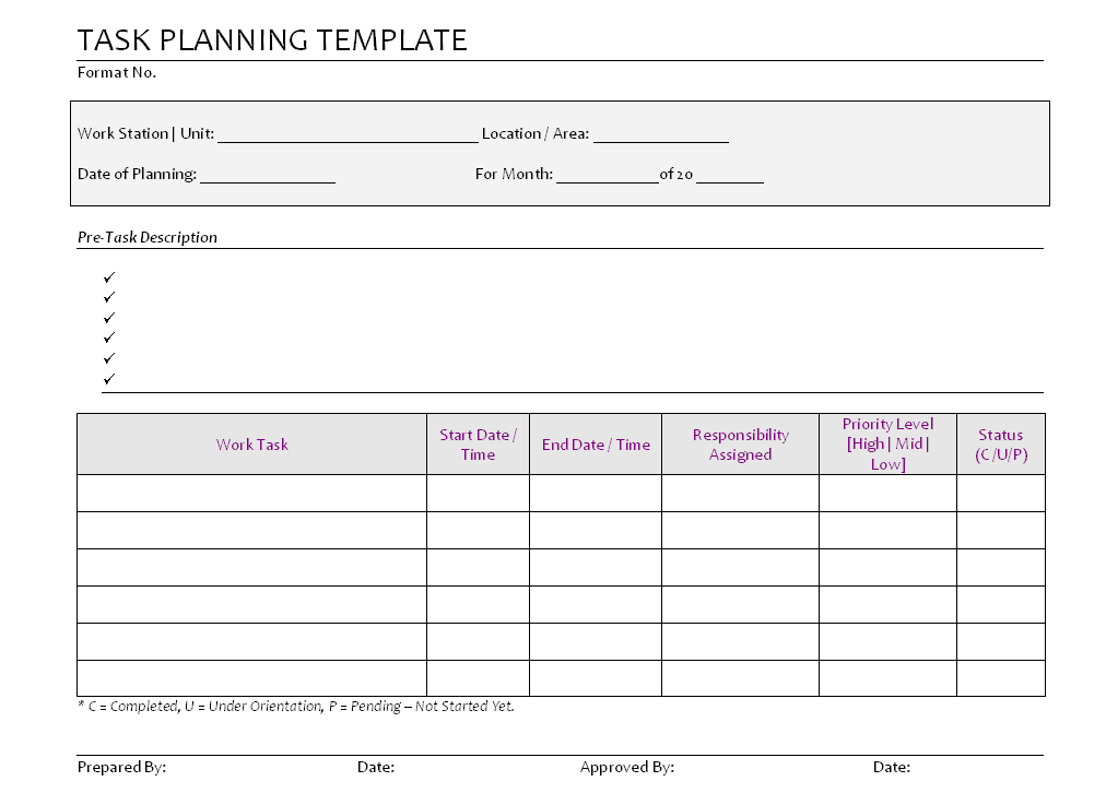 Task Planning Template Format Pg 1