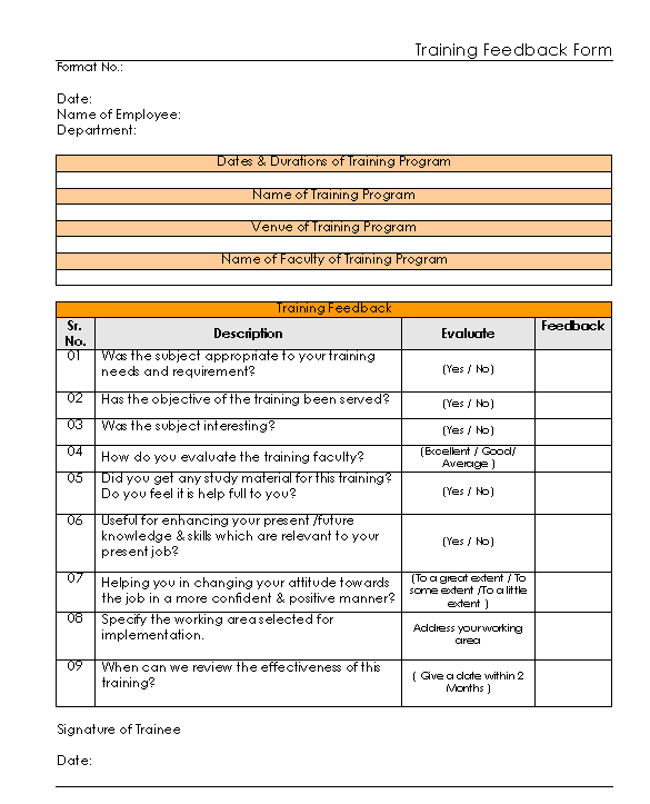 Training Feedback Form format| Excel | PDF | Sample