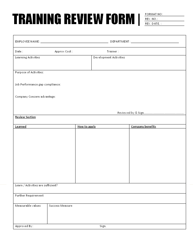 file word document training review form format report sample word ...