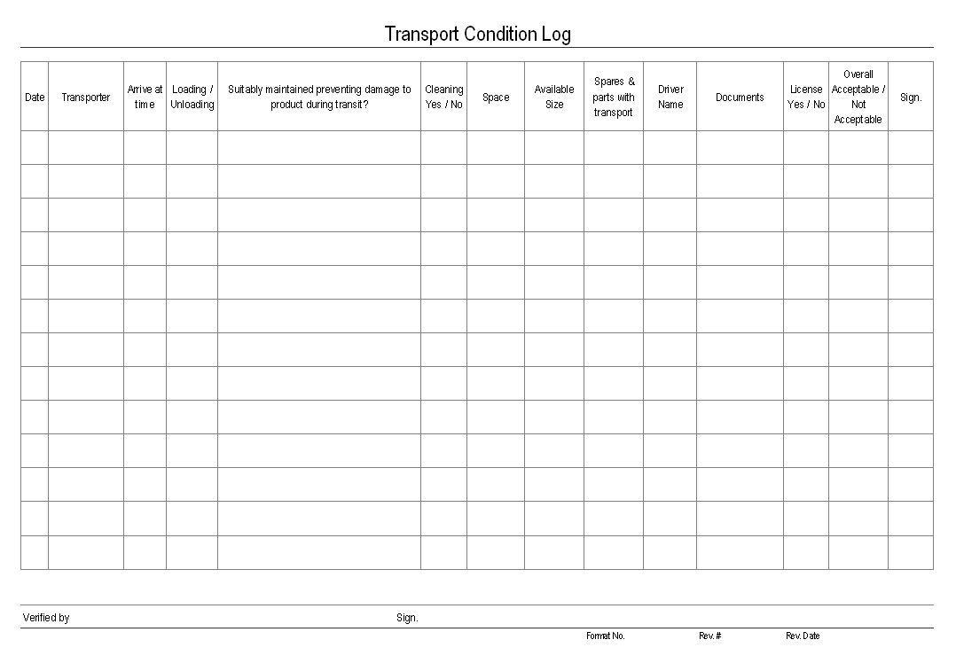 file word document transport condition log format report sample word ...