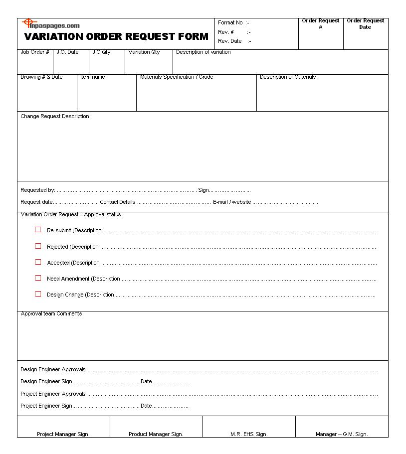 variation order form  Variation Order Request Form Format