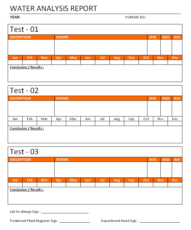Water Analysis Report Format Format Image 01 ...  Analysis Report Template Word