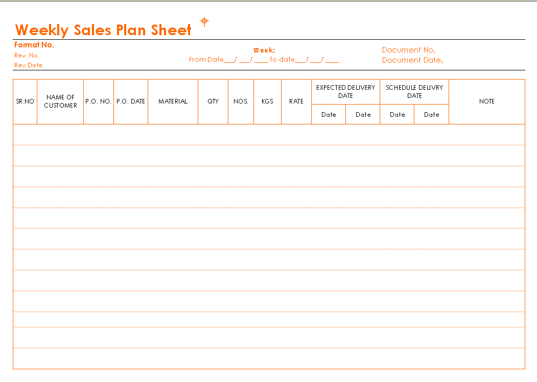 Weekly Sales Plan Sheet Format Image 01 ...