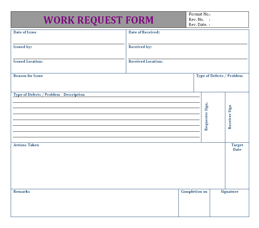 Work Request Form Format