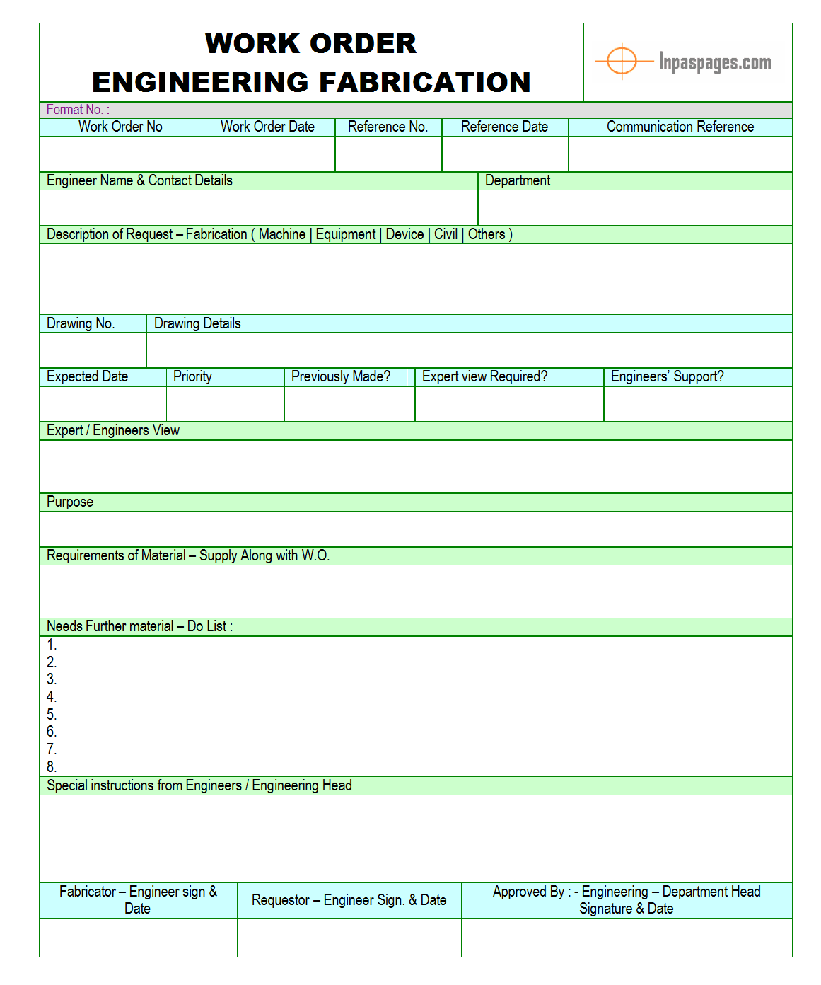 work order for engineering fabrication format image 01 examples formats download for free