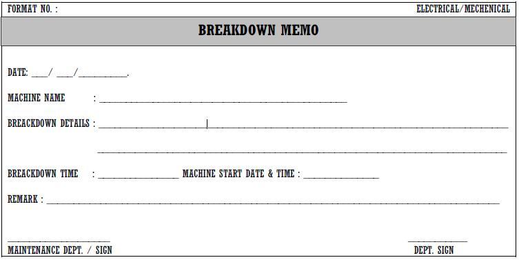 Machine Breakdown Request Memo