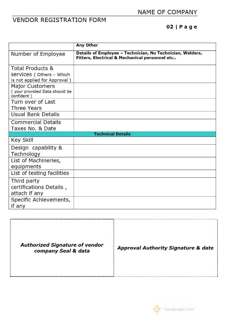 Vendor Registration Form Page No.2